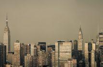 A monochromatic New York City skyline on a grungy morning