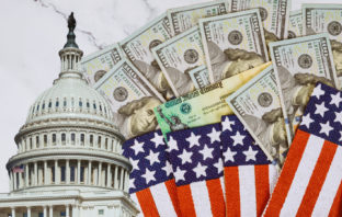U.S. Capitol, stimulus checks, money and American flag