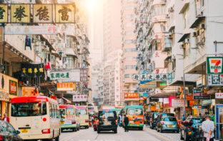 Hong Kong Street Scene, Mongkok District with busses