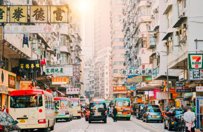 Hong Kong Street Scene, Mongkok District with busses