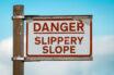 Danger slippery slope sign