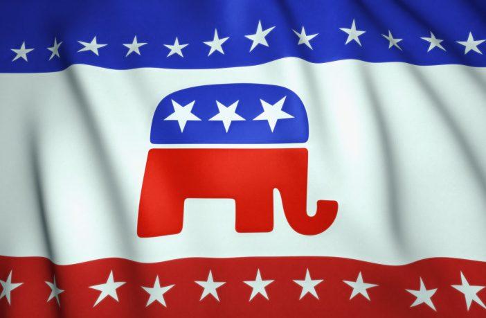 Republican flag with elephant emblem