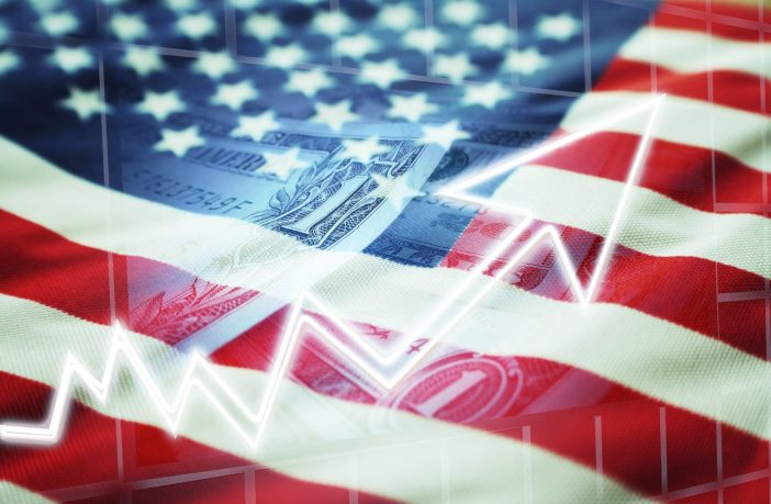 United States flag and U.S. currency with upward arrow