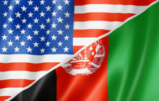 United States and Afghanistan flags